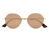 Bodoozle Goldfarbene Sonnenbrille Mit Runden, Verspiegelten Gläsern