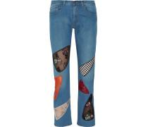 Halbhohe Boyfriend-jeans Mit Pailletten Und Spitzeneinsätzen -