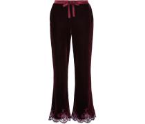 Rose Imperial Pyjama-hose Aus Samt Mit Besatz Aus Chantilly-spitze Und Satin -