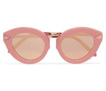 Lunar Flowerpatch Sonnenbrille Mit Cat-eye-rahmen Aus Azetat Und Roségoldfarbenen Details - Pink