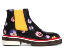 Chelsea Boots Aus Leder Mit Blumendruck -