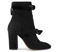 Lorraine Ankle Boots Aus Veloursleder Mit Samtbesatz -
