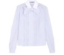Gestreiftes Baumwollhemd Mit Rüschen Und Schleifenverzierung - Himmelblau