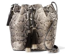 Troddelverzierte Beuteltasche Aus Leder Mit Pythoneffekt - Schlangen-Print