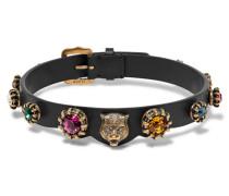 Choker Aus Leder Mit Kristallen Und Brünierten Goldfarbenen Details -