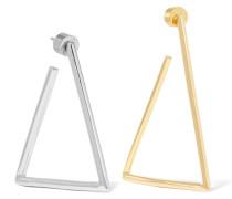 Triangle Verte Und Vergoldete Ohrringe