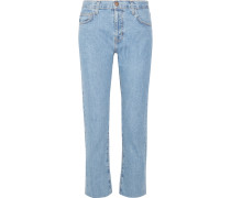 Vintage Straight Hoch Sitzende Jeans - Mittelblauer Denim