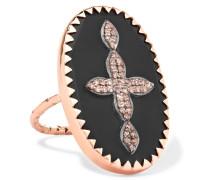 Bowie N°3 Ring aus 9 Karat  und Sterlingsilber mit Bakelit® und Diamanten