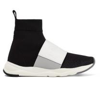 Cameron High-top-sneakers Aus Stretch-strick Und Mesh Mit Lederbesatz -