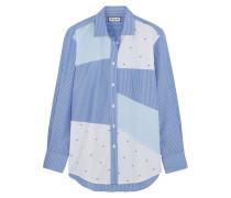 Gestreiftes Hemd Aus Baumwolle In Patchwork-optik - Blau