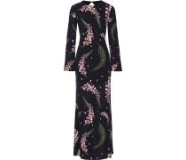 Rückenfreie Robe Aus Seiden-georgette Mit Blumenprint - Schwarz