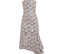 Besticktes Kleid Aus Baumwoll-canvas Mit Verzierung - Silber
