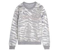 Sweatshirt Aus Schillerndem Baumwoll-jersey Mit Tigerprint - Silber