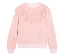 Sweatshirt Aus Velours Mit Rüschenbesatz -