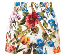 Floral Bedruckte Shorts Aus Baumwollpopeline -