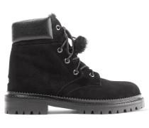 Elba Ankle Boots Aus Veloursleder Mit Futter Aus Shearling - Schwarz