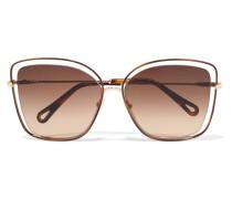 Poppy Sonnenbrille Mit Cat-eye-rahmen Aus Azetat Und Goldfarbenen Details -