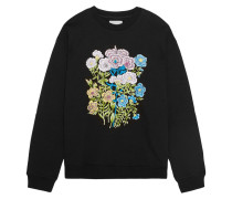 Floral Sweatshirt Aus Baumwoll-jersey Mit Stickerei - Schwarz