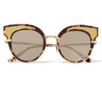 Verspiegelte Sonnenbrille Mit Cat-eye-rahmen Aus Azetat Und farbenen Details
