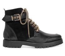 Ankle Boots Aus Leder Und Veloursleder - Schwarz