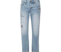 The Crossover Bestickte Halbhohe Jeans Mit Geradem Bein -