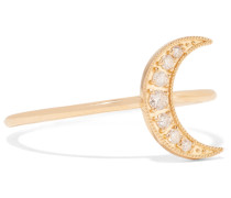 Mini Crescent Ring Aus 18 Karat  Mit Diamanten