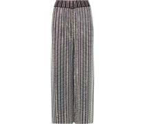 Verkürzte Hose Aus Stretch-strick Mit Weitem Bein Und Kristallen -