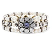 Armband Aus Perlen, Diamanten Und Tansanit -