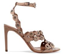 Sandalen Aus Lasergeschnittenem Leder Mit ösenverzierung -