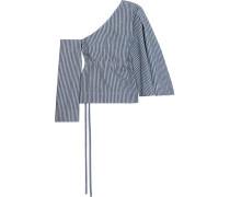 Gestreiftes Jeansoberteil Mit Asymmetrischer Schulterpartie - Mittelblauer Denim