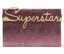 Superstar Vanity Clutch Aus Leder Mit Krokodileffekt - Plaume