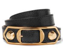 Metallic Edge Armband Aus Strukturiertem Leder Mit Goldfarbenen Details - Schwarz