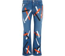 Taped halbhohe Jeans mit weitem Bein