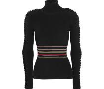 Diona Rollkragenpullover Aus Stretch-strick Mit Streifen Und Rüschen -
