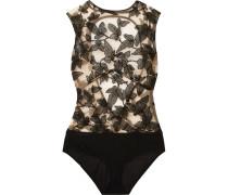Fleur Interdit Bestickter Body aus Stretch-tüll und Jersey mit Offener Rückenpartie -