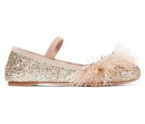 Ballerinas Aus Leder Mit Glitter-finish Und Verzierungen Aus Kunstperlen, Kristallen Und Federn - Pink