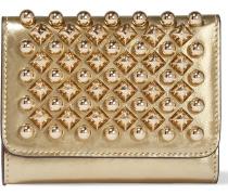 Macaron mini Portemonnaie aus Metallic-Leder mit Nieten