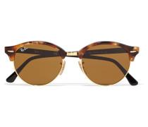 Clubround Sonnenbrille Aus Azetat Mit Goldfarbenen Details - Horn