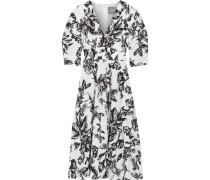 Kleid Aus Baumwolle Mit Floralem Print - Elfenbein