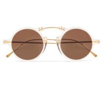 Roma Ii Goldfarbene Sonnenbrille mit Rundem Rahmen und Azetatdetails -