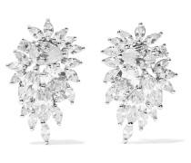 Cluster Rhodinierte Ohrringe Mit Cubic Zirkonia-steinen -