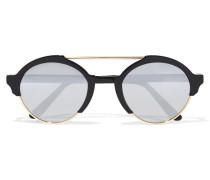 Milan Iii Verspiegelte Sonnenbrille Mit Rundem Rahmen Aus Azetat Und Goldfarbenen Details -