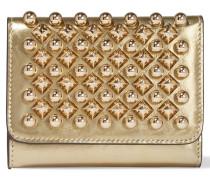Macaron Mini Portemonnaie Aus Metallic-leder Mit Nieten - Gold