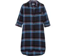 Kariertes Nachthemd aus einer Baumwollmischung mit Jersey-Einsätzen