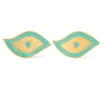 Ohrringe Aus 18 Karat  Und Emaille