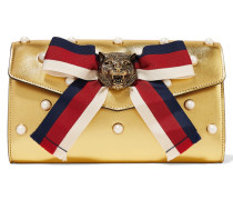 Broadway Clutch Aus Leder In Metallic-optik Mit Kunstperlenverzierung -