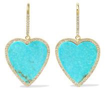 Ohrringe Aus 18 Karat  Mit Türkisen Und Diamanten