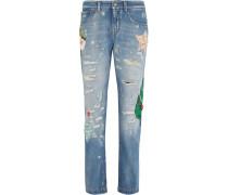 Hoch Sitzende Boyfriend-jeans Mit Applikationen - Heller Denim