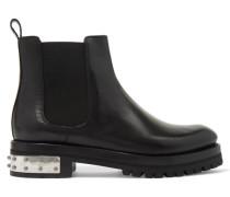 Verzierte Chelsea Boots Aus Leder - Schwarz