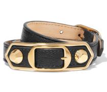 Triple Tour Armband Aus Strukturiertem Leder Mit Golddetails -